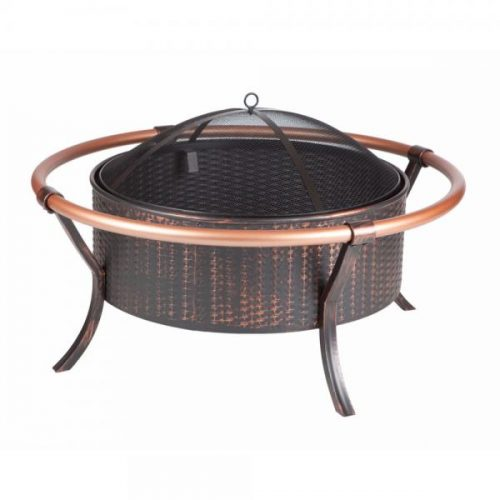 Fire Sense WT Living 37 Copper Rail Firepit - Antique Bronze